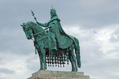 Statue of the first King of Hungary Stock Images