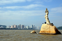 Statue of Fisher Girl. Symbol of South china city Zhuhai Stock Images