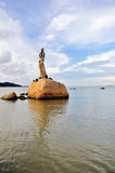 The Statue of fisher girl. Has become the landmark in the city of Zhuhai, located at the scenic Xianglu Bay. She holds a pearl high in the air with both hands Royalty Free Stock Photos