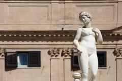 Statue from the fontana della vergogna, palermo. Detail of a statue of the fontana della vergogna, by francesco camilliani, pretoria square palermo, sicily Royalty Free Stock Photos