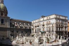 Statue from the fontana della vergogna, palermo. Overall view of the fontana della vergogna, by francesco camilliani, pretoria square palermo, sicily, landscape Royalty Free Stock Image