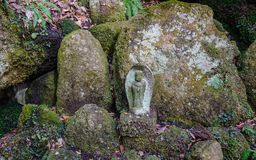 Statue at forest in Yamadera, Japan. A stone Buddha statue at sacred forest in Yamadera, Japan. Yamadera is a scenic temple located in the mountains northeast of Royalty Free Stock Photos