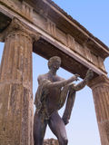 Statue in the Forum of the once buried city of  Pompeii Italy Stock Images