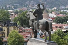 Statue of founder of Tbilisi city Vakhtang Gorgasali stock photos