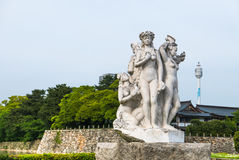 Statue of the Fountain in front of Hiroshima castle Royalty Free Stock Photos