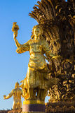 Statue on the fountain. Golden statue on the fountain `Friendship of Peoples Royalty Free Stock Image