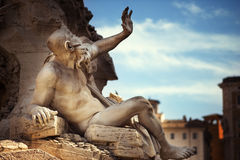 Statue in Fountain, Piazza Navona, Rome, Italy Royalty Free Stock Photography