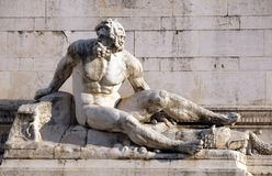 The statue at the fountain that represents the Tyrrhenian Sea, Altare della Patria, Rome Royalty Free Stock Photo