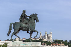 Statue and Fourviere basilica on a background Royalty Free Stock Photography
