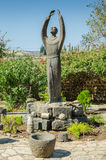 Statue of Francis of Assisi in Capernaum Stock Photography