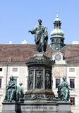 Statue of Francis II  in Vienna, Austria. Statue of Francis II, Holy Roman Emperor in the Hofburg courtyard square in Vienna, Austria on August 8, 2012. The Stock Image