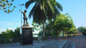 Statue of Francisco de Orellana on the waterfront of the city of Coca. El Coca is a village along the Napo river Stock Photography