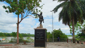 Statue of Francisco de Orellana on the waterfront of the city of Coca. El Coca is a village along the Napo river Stock Photos