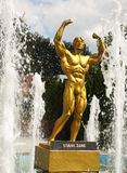 Statue of Frank Zane. In front of a big fitness center. Location: Timisoara, west Romania Royalty Free Stock Image