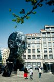 Kafka kinetic sculpture by David Cerny. The statue of Franz Kafka by David Cerny is a kinetic sculpture made from stainless steel layers rotating independently royalty free stock image