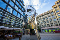 Statue of Franz Kafka. The latest work by artist David Cerny is located at yard of the shopping center Quadrio metro Narodni trida. Prague, Czech Republic royalty free stock images