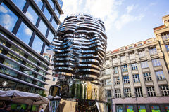 Statue of Franz Kafka. The latest work by artist David Cerny is located at yard of the shopping center Quadrio metro Narodni trida. Prague, Czech Republic Royalty Free Stock Photos