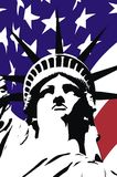 Statue of freedom. On a background of the American flag Royalty Free Stock Image