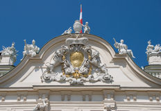 Statue in front of Belvedere. Front Entrance of Belvedere Palace royalty free stock photo