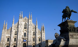 Statue in front of the cathedral of milan Royalty Free Stock Images