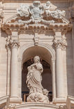 Statue in front of the Cathedral of Syracuse, Sicily Royalty Free Stock Photos