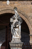 Statue in front of the Cefalu Cathedral in Cefalu, Sicily, Italy Stock Photography