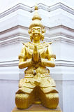 The statue in front of the church. At thai temple Royalty Free Stock Image