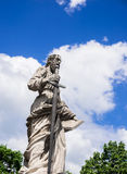 Statue in front of Church in Eger Royalty Free Stock Photography