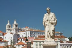 Statue in front of church of Santa Engracia, Lisbon, Portugal. During summer day Royalty Free Stock Photo