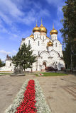 Statue in front of Church in Yarosavll, Russia. This photo was takenChurch Yarosavll, Russia.Yaroslavl (Russian: Ярослáвль; IPA: [jɪrɐˈslavlʲ]) is a Royalty Free Stock Image
