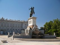 Statue in front of Palace Real in Madrid royalty free stock photo