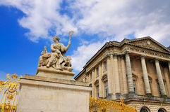 Statue in front of the Palace of Versaille royalty free stock image