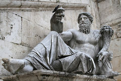 Statue in front of Palazzo Senatorio Royalty Free Stock Images