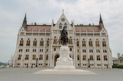 Statue in front of Parliament Building, Budapest, Hungary Stock Photo
