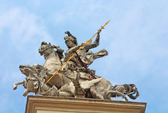 Statue on front part of the St. George's Cathedral, Lviv Royalty Free Stock Photo