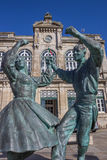Statue in front of the railway station of Viana Royalty Free Stock Photography