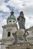 Statue in front of the Salzburg Dom, Austria. stock image