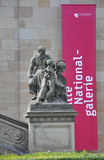 Statue front stairs of Alte National Galerie from Berlin in Germany stock photos