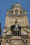 Statue in front of Victoria Terminus Stock Photos