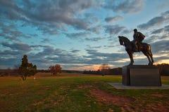 Statue Général de Stonewall Jackson à la course de Taureau de champ de bataille de Manassas Photos libres de droits
