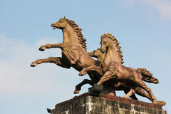 The statue of the galloping horse.  Royalty Free Stock Images