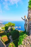 Statue and gardens of Capri Island. In Tyrrhenian Sea, Italy stock images