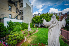 Statue and gardens at St. Leonard`s Church, in the North End of Stock Photos