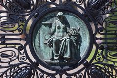 Statue on a gate at the international court of justice freedom palace the hague netherlands