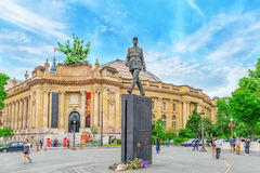 Statue General De Gaulle. PARIS, FRANCE - JULY 01, 2016 : Statue General De Gaulle Statue du Général De Gaulli on square with people, near Grand Palais in stock photography