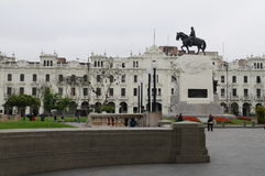Statue of General Jose de San Martin in Plaza Mayor Plaza de Armas, Lima, Peru. Royalty Free Stock Image