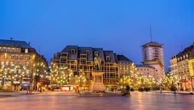 Statue of General Kleber in Strasbourg, France. Christmas tree and statue of General Kleber in Strasbourg - Alsace, France Stock Photo