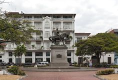 Statue of general tomas herrera on the square of the same name in casco viejo panama city.  stock photography