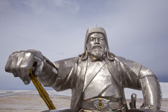 Statue of Genghis Khan with golden whip. Giant Genghis Khan statue standing 42m high, near Ulaanbaatar, Mongolia Royalty Free Stock Images