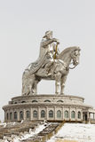 Statue of Genghis Khan statue with horse. Giant Genghis Khan statue standing 42m high, near Ulaanbaatar, Mongolia Royalty Free Stock Photo